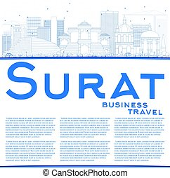 Outline Surat Skyline with Blue Buildings and Copy Space....