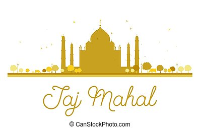 Taj Mahal golden silhouette. Vector illustration. Simple...