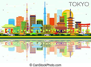 Tokyo Skyline with Color Buildings, Blue Sky and Reflections.