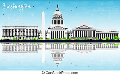 Washington DC Skyline with Gray Buildings, Blue Sky and Reflection.