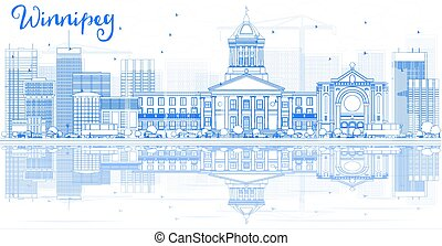 Outline Winnipeg Skyline with Blue Buildings and Reflections.