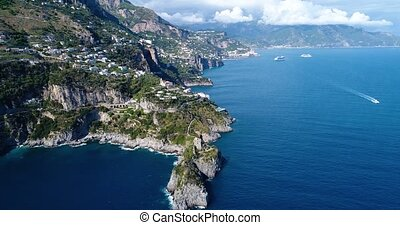 aerial view of beautiful amalfi coast at southern italy -...
