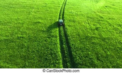Aerial view of suv car moving on road in green fields -...