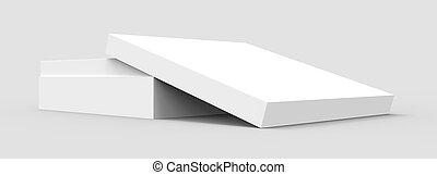tilt blank paper box - tilt white flat 3d rendering blank...