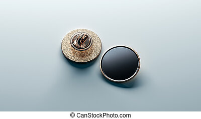Blank black round gold lapel badge mock up, front and back...