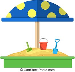 Sandbox with red dotted umbrella icon, Bucket, rake and...