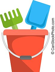 Bucket, rake and shovel for children sandbox icon. vector...