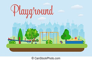 Kids playground. Buildings for city construction. Set of...