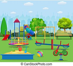 Kids playground cartoon concept background. childrens...