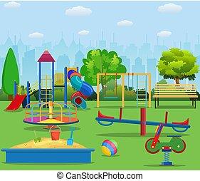 Kids playground cartoon concept background. childrens...