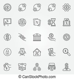 Leasing and loan icons set. Vector collection of banking and...