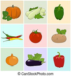 Colored Icons Fresh Vegetables - Colored Icons Vegetables,...