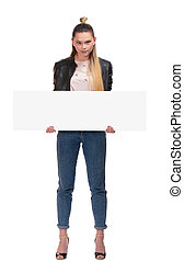 blond girl with nameplate on white background