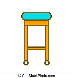 Bar chair with blue seat and wooden legs