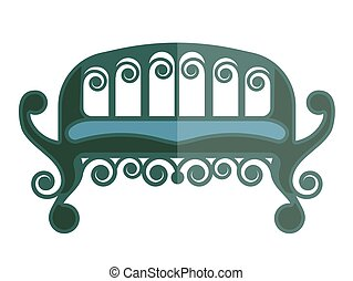 Ancient green sofa isolated on white vector illustration in...