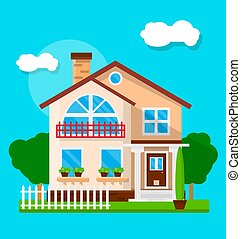 Exterior of suburban house - Vector illustration of the...
