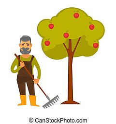 Elderly man with rake stands beside apple tree