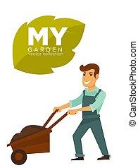 My garden vector collection. Man with garden wheelbarrow -...