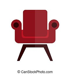 Comfortable, soft and stylish red armchair isolated illustration