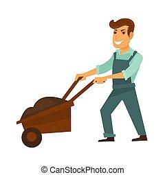 Cartoon man in overalls with garden wheelbarrow illustration...