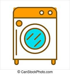 Cartoon white washing machine with orange top, round buttons...