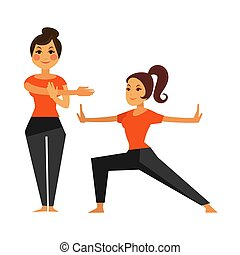 Two female people warming up before karate class. Vector...