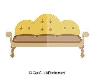 Yellow sofa in antique style isolated on white. Vector...