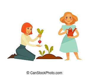 Young cartoon girls plant sweet beet isolated illustration -...