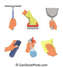 Hands holding cleaning tools and products vector poster -...