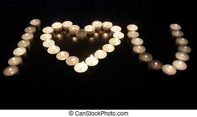 I love you lay out the candle. Fire.