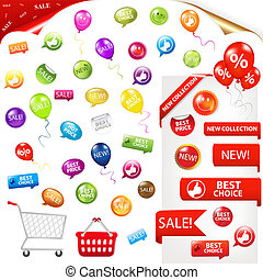 Big Selling Set - Collection Of Selling Badges, Isolated On...