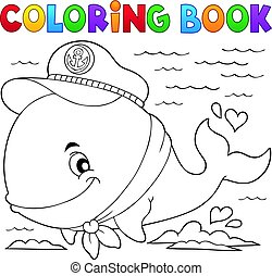 Coloring book sailor whale  illustration.