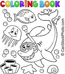 Coloring book with shark snorkel diver illustration.