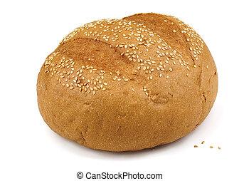 Sesame bun - Fresh baked sesame bun isolated on white