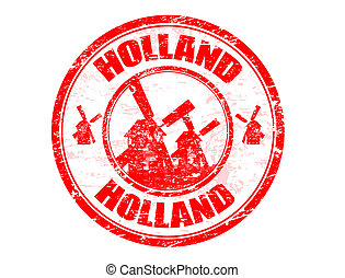 Holland stamp - Red grunge rubber stamp with windmill...
