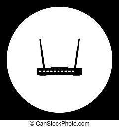 wireless conputer network router simple black icon eps10
