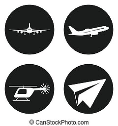 Transportation icons set. Helicopter, plane, paper plane in...