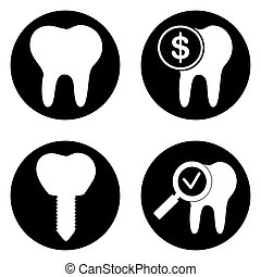 Dental treatment icons set in circle button. Vector...