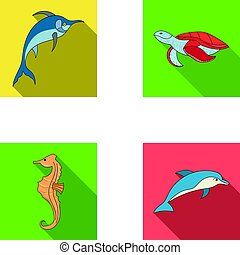 Merlin, turtle and other species.Sea animals set collection...
