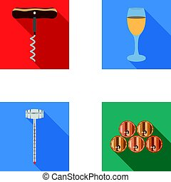 Corkscrew, alcohol counter, barrels in the vault, a glass of white wine. Wine production set collection icons in flat style vector symbol stock illustration web.