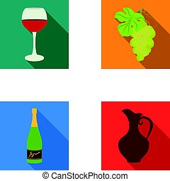 A glass of red wine, champagne, a jug of wine, a bunch. Wine production set collection icons in flat style vector symbol stock illustration web.