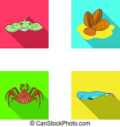 Electric ramp, mussels, crab, sperm whale.Sea animals set...