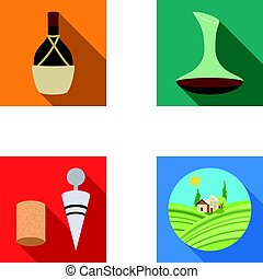 A bottle of wine in a basket, a gafine, a corkscrew with a cork, a grape valley. Wine production set collection icons in flat style vector symbol stock illustration web.