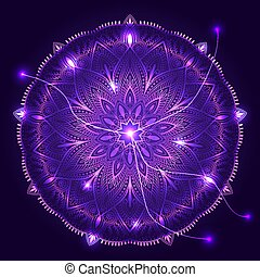 Vector round decorative ornament on cosmic background....
