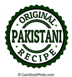 Original pakistani recipe label or stamp on white...