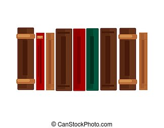 Row of books with brown, red and green covers - Row of thick...