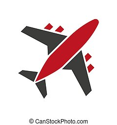Plane icon in red and black colors isolated on white