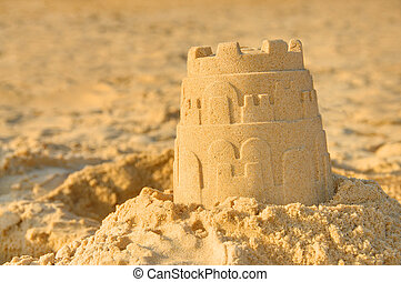 Detailed photograph of a sandcastle
