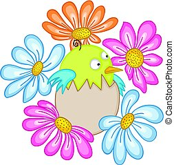 Baby bird in egg with flowers - Scalable vectorial image...