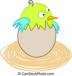 Cute baby bird in egg nest - Scalable vectorial image...